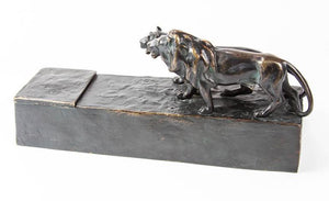 Art Deco Austrian Bronze Lion and Lioness Inkwell Desk Stand Signed F.Gornik
