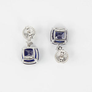 Stunning Faux Diamond and Blue Sapphire Drop Statement Earrings