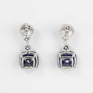 Amazing Faux Diamond and Faux Blue Sapphire Drop Statement Earrings