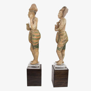 Pair of Burmese Temple Statues, Late 19th Century