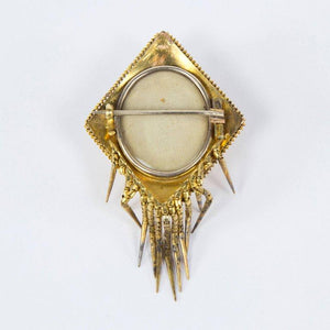 Antique Gold Mourning Brooch Pin Locket