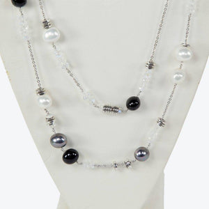 Faux Pearl Opalescent Crystal and Silver Beads Runway Necklace