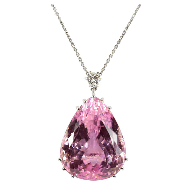 Fabulous Large 130 Carat Pink Teardrop Kunzite Diamond Pendant Necklace