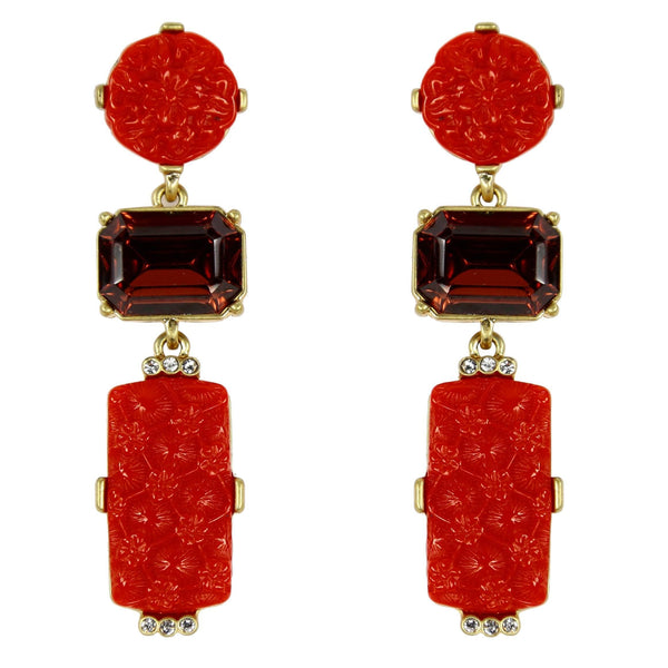 Festive Faux Red Coral and Faux Gemstone Statement Dangle Earrings