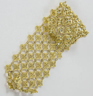 Diamond Star Lace Wide Gold Modernist Bracelet