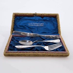 Antique Sterling Silver Christening Cutlery Set Boxed