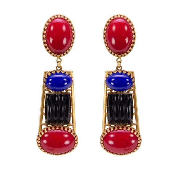 Askew London Multi Stone Drop Statement Earrings