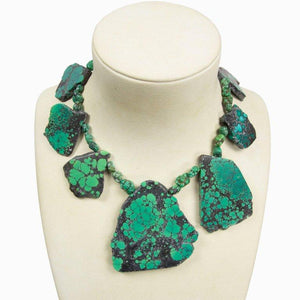 Natural Freeform Turquoise Slice and Sterling Silver Runway Necklace