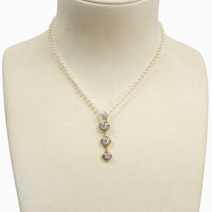 Beautiful Diamond Gold Drop Pendant and Pearl Necklace