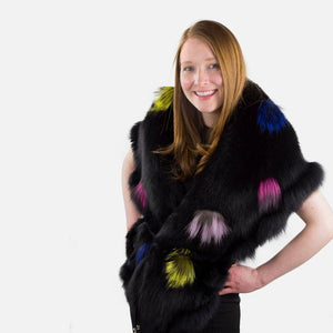 Rich Black Fox Fur Stole with Multi Colored Pom Pom Embellishments