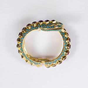 Kenneth Lane KJL Faux Ruby Turquoise Snake Statement Cuff Bracelet