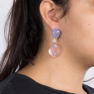 Pink Quartz and Blue Chalcedony Diamond Statement Earrings