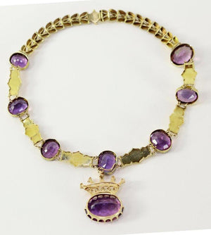 86.07 Carat Amethyst Edwardian Gold Convertible Crown Brooch Necklace