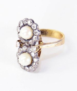Edwardian Pearl and Diamond Silver Gold Ring