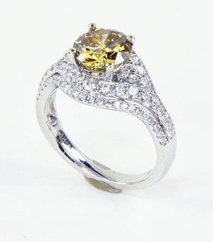 1.63 Carat Fancy Orange Brown Diamond Gold Engagement Ring