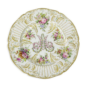Elegant Set of 12 Antique Hand Painted Porcelain Serving Plates