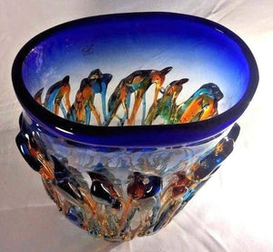 Large Murano Oceanos Abstract Multi-Color Art Glass Vase Signed Vetro Artistico