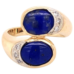 Modernist Lapis Lazuli and Diamond Bypass Gold Cocktail Ring Estate Fine Jewelry