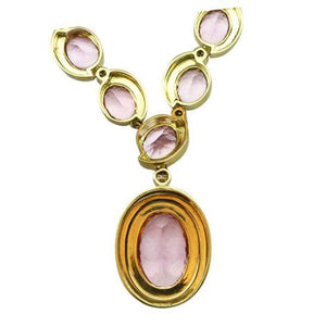 67.50 Carat Morganite and 2.90 Carat Diamond Gold Necklace Fine Estate Jewelry