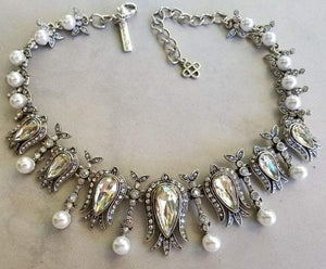 Oscar De La Renta Fine Faux Pearl and Crystal Necklace and Earrings Set