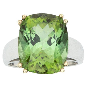 10.8 Carat Green Tourmaline Two-Color Gold Ring