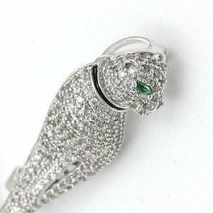 Majestic Vintage Faux Diamond Emerald Pearl Panther Estate Brooch Pendant