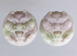 Magnificent Pair of Carved Lavender Jadeite Masks