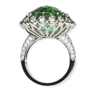 14.36 Carat Paraiba Tourmaline and Diamond Gold Ring Estate Fine Jewelry