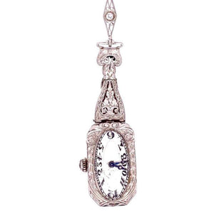 Art Deco 4.00 Carat Diamond Platinum Watch Pendant Necklace Estate Fine Jewelry