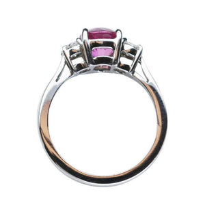 2.21 Carat Pink Sapphire and Diamond Platinum Engagement Ring
