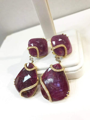 Ruby and Diamond 18 Karat Gold Drop Statement Earrings Estate Fine Jewelry