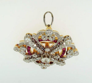 Antique Art Deco Ruby Diamond Platinum 18K Brooch Pendant Estate Fine Jewelry