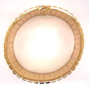 Retro 1950s Wide Link Yellow Gold Bracelet Fine Estate Jewelry