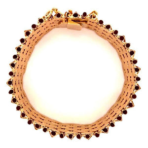 Retro Multi Row Link Rose Gold Bracelet Fine Estate Jewelry