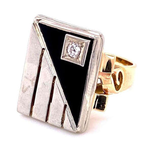 Mid-Century Modern Onyx and Diamond 2-Tone Gold Tablet Ring Fine Estate Jewelry