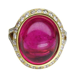 19.06 Carat Intense Red Rubelite and Diamond Gold Ring Estate Fine Jewelry