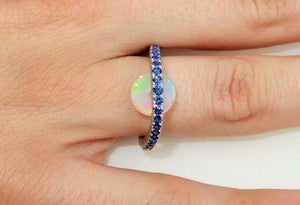 3.63 Carat Opal and Blue Sapphire Statement Ring