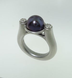 Peacock Pearl and Diamond Ring