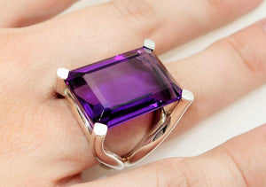 27.11 Carat Amethyst Solitaire Ring
