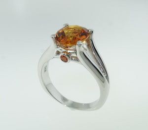 2.33 Carat Citrine and Sapphire Solitaire Statement Ring