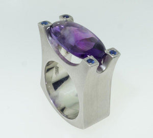 7.85 Carat Amethyst and Blue Sapphire Solitaire Statement Ring
