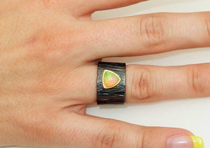 Dynamic Solitaire Ethiopian Opal Ring