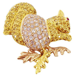 Natural Pink and Yellow Diamond Gold Squirrel Brooch Pin
