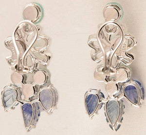 Tony Duquette Crystal Flower Sapphire Diamond Emerald Aquamarine Gold Earrings