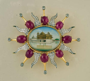 Diamond, HP Plaques and Ruby Gold Brooch Pin Tony Duquette Fine Jewelry