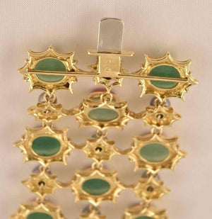 Exquisite Tony Duquette Chrysoprase Coral and Black Pearl Gold Bracelet