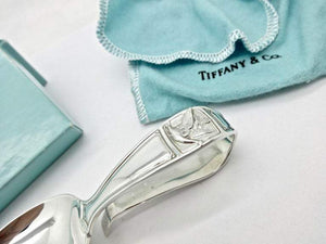 Tiffany & Co. Mother Goose Sterling Silver Curved Handle Baby Spoon Box Estate