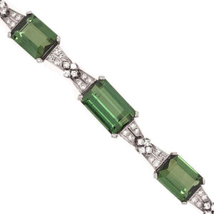 Art Deco 62.0 Carat Tourmaline and Diamond Platinum Bracelet Fine Estate Jewelry