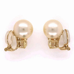 Vintage South Sea Pearl and Diamond Gold Earrings Estate Fine Jewelry