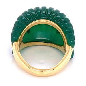Vintage Carved Fluted Green Quartz Gold Dome Cocktail Ring Fine Estate Jewelry